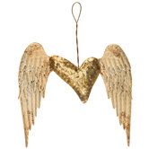 Distressed Wings & Heart Metal Decor